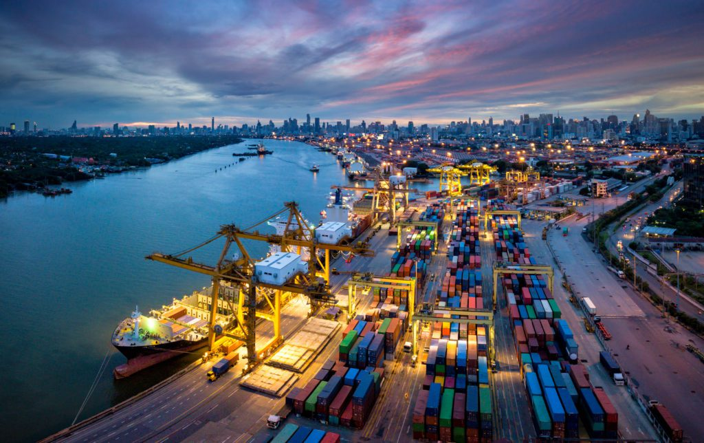Picture of a shipping port at dusk