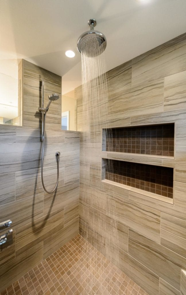 High quality shower stall with tiles that look like wood